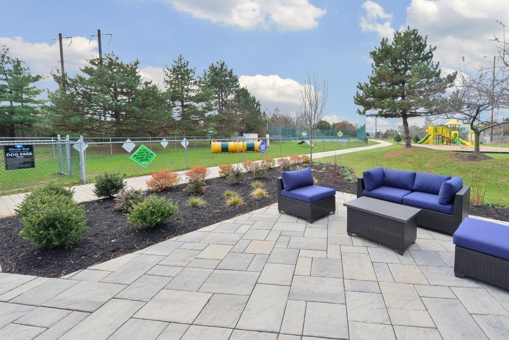 Outdoor Lounge & Dog Park at Abrams Run Apartment Homes in King of Prussia, Pennsylvania