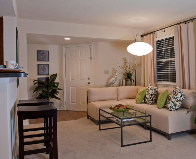 Comfortably decorated living area in a model home at Abaco Key in Orlando, Florida