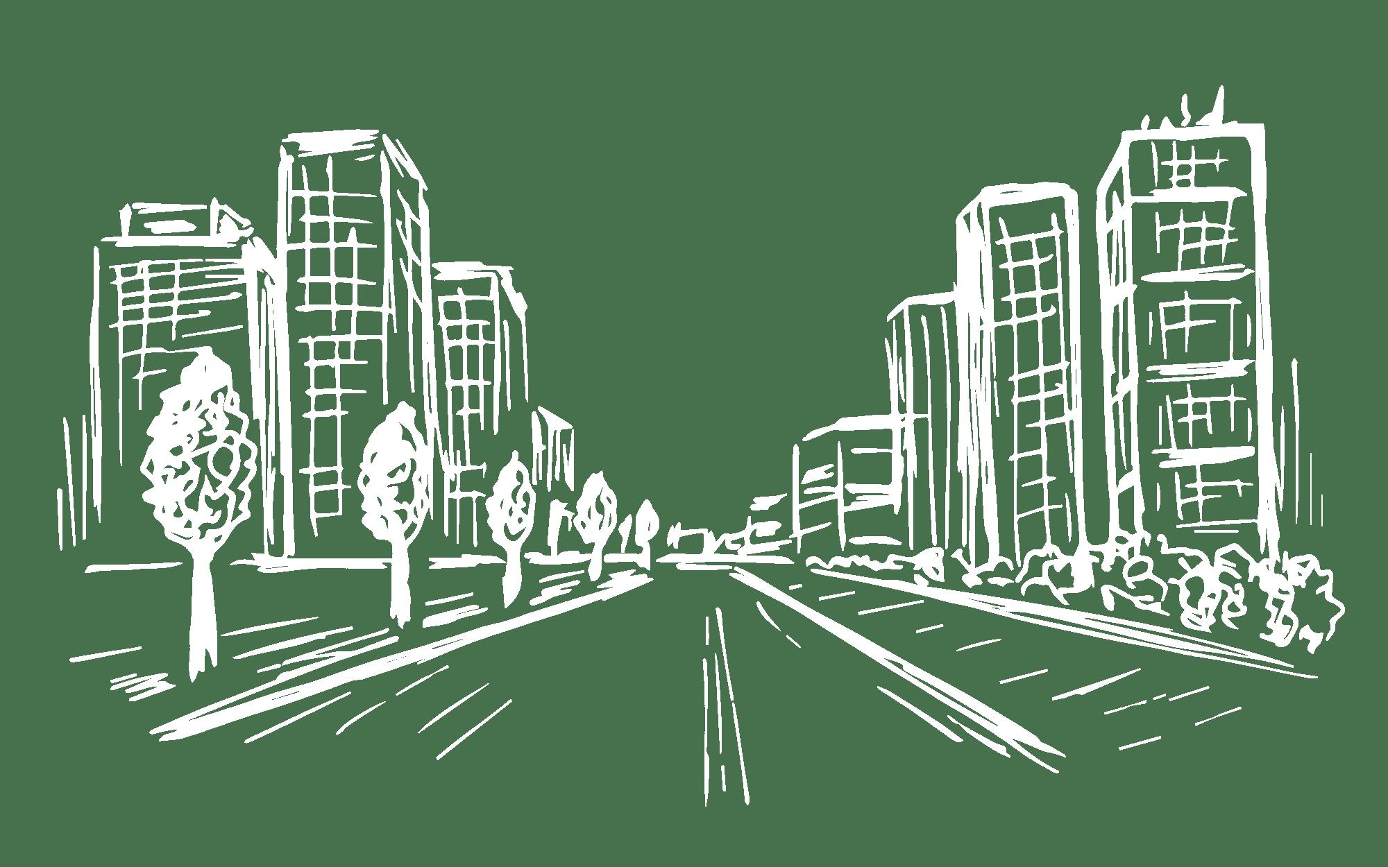Illustration of a street for Bellrock Market Station in Katy, Texas