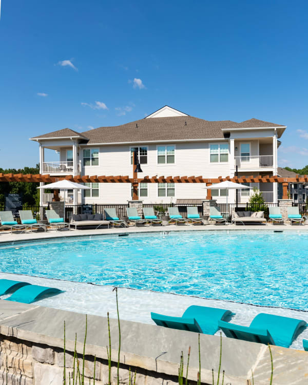 Sparkling pool at The Crest at Flowery Branch in Flowery Branch, Georgia