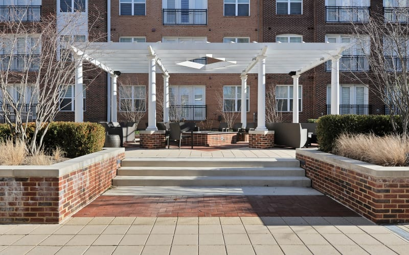 Outdoor patio at The Mark at Brickyard Apartment Homes in Beltsville, Maryland.