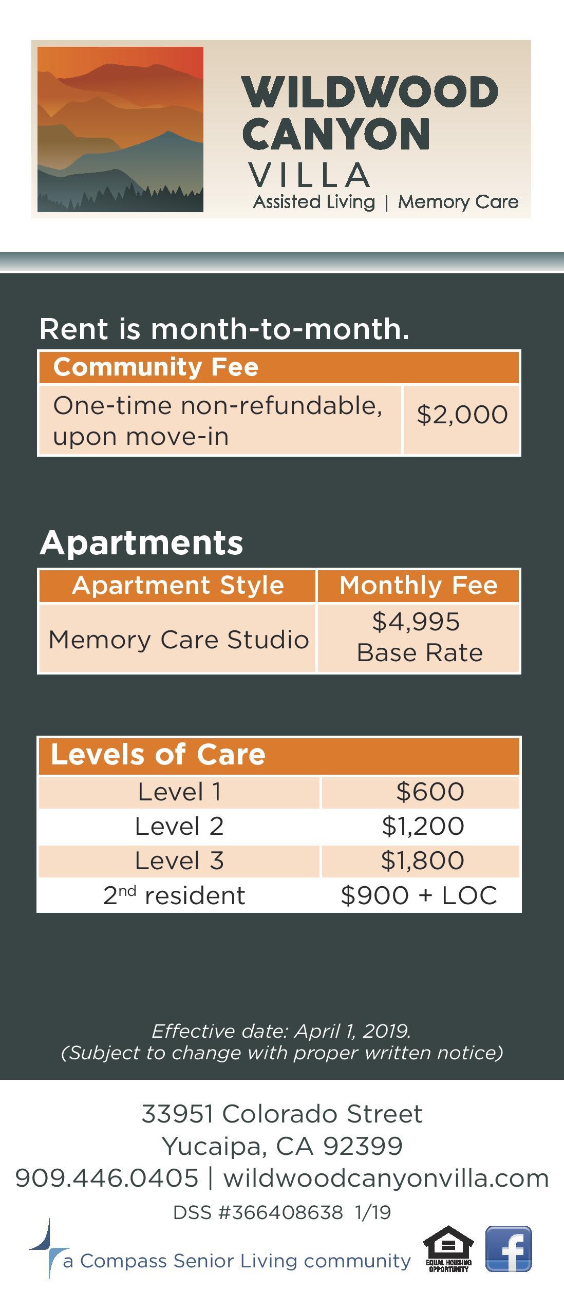 Memory care rates at Wildwood Canyon Villa Assisted Living and Memory Care in Yucaipa, California