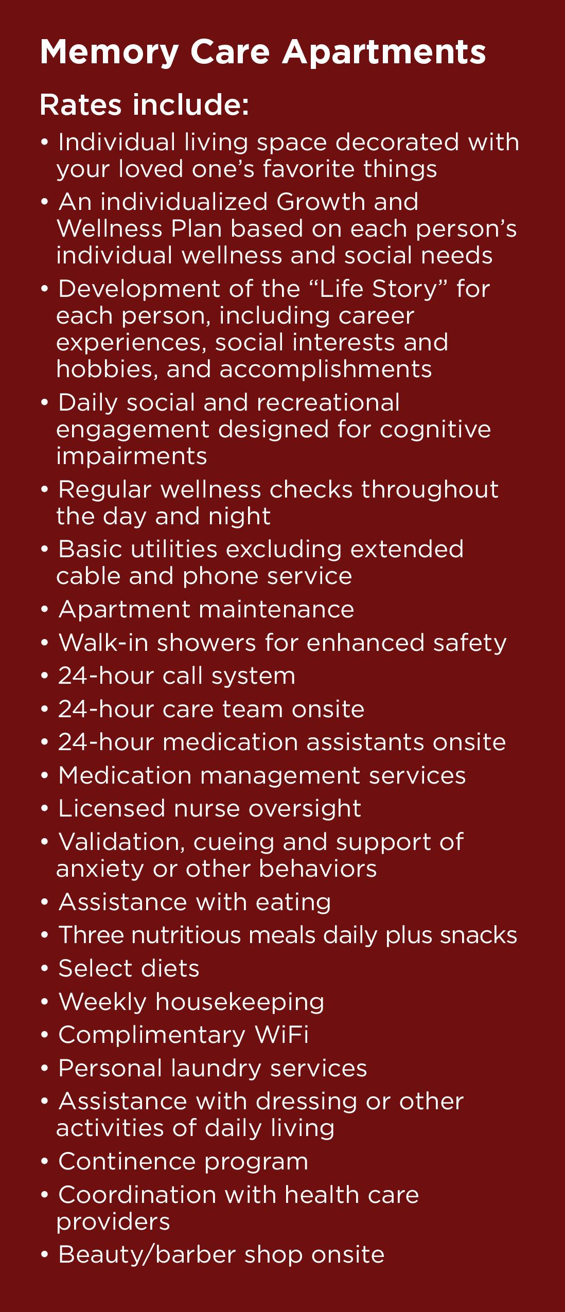 Whats included in memory care rates at Wildwood Canyon Villa Assisted Living and Memory Care in Yucaipa, California
