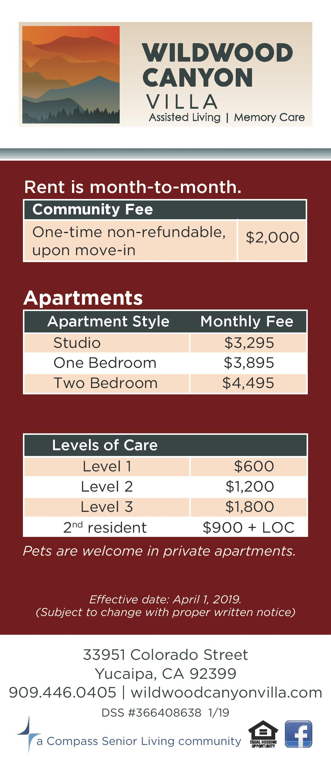 Assisted living rates at Wildwood Canyon Villa Assisted Living and Memory Care in Yucaipa, California