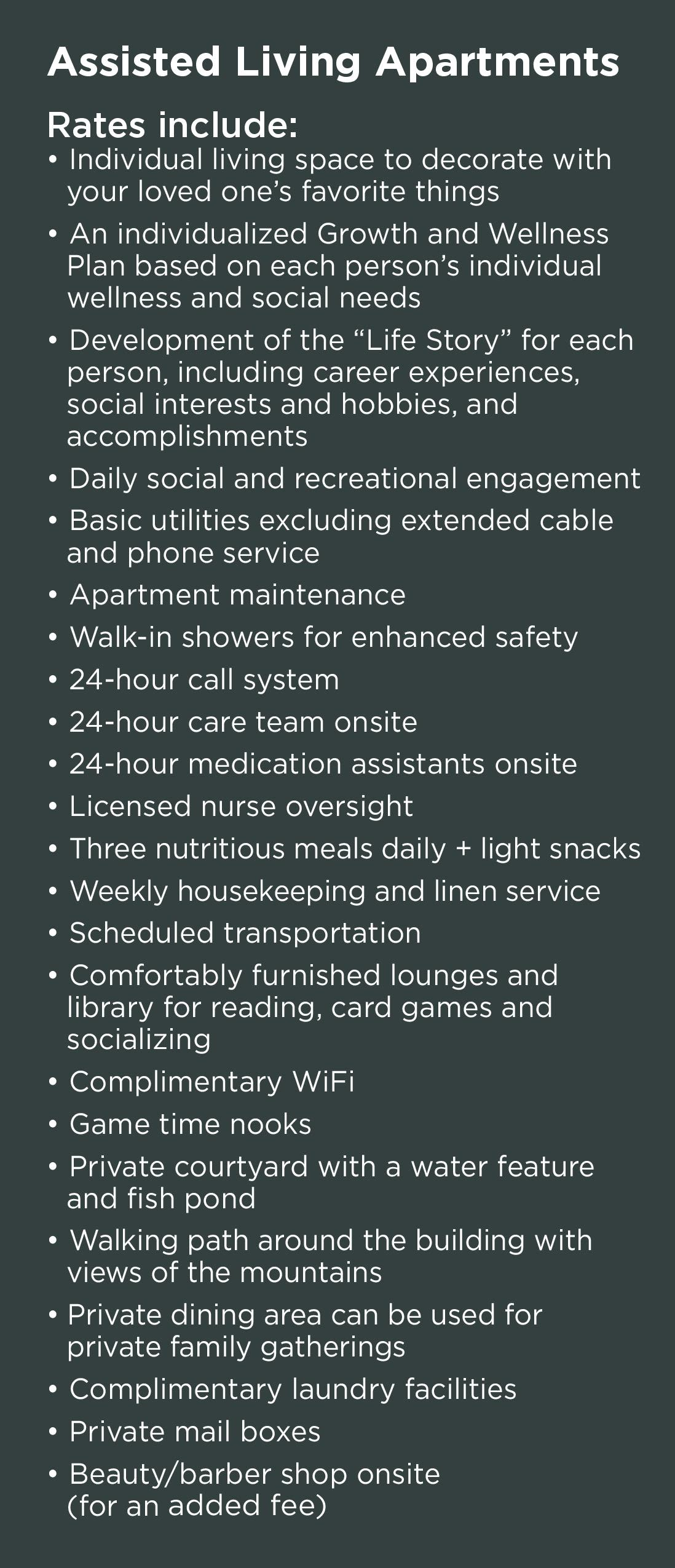 Whats included in assisted living rates at Wildwood Canyon Villa Assisted Living and Memory Care in Yucaipa, California