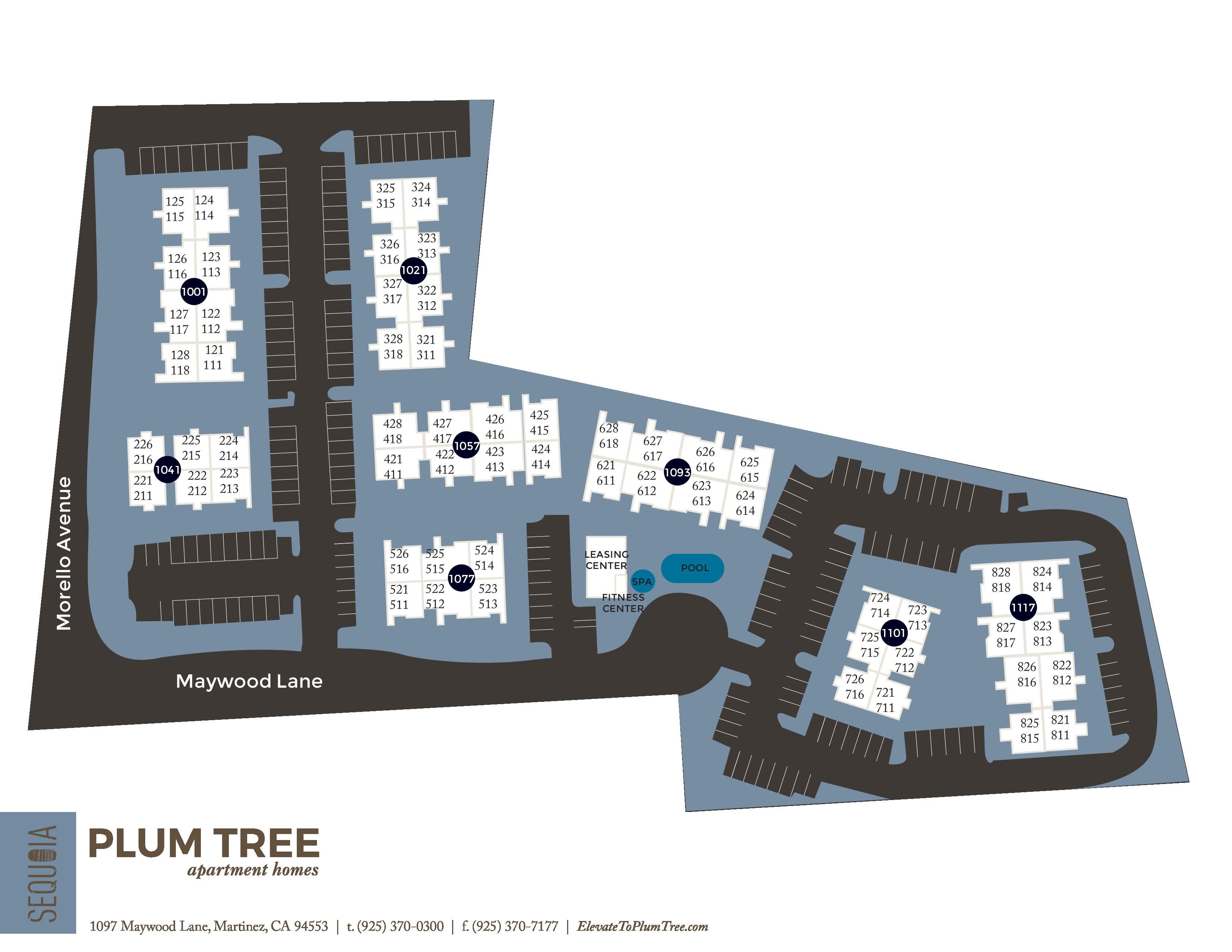 Community site map for Plum Tree Apartment Homes in Martinez, California