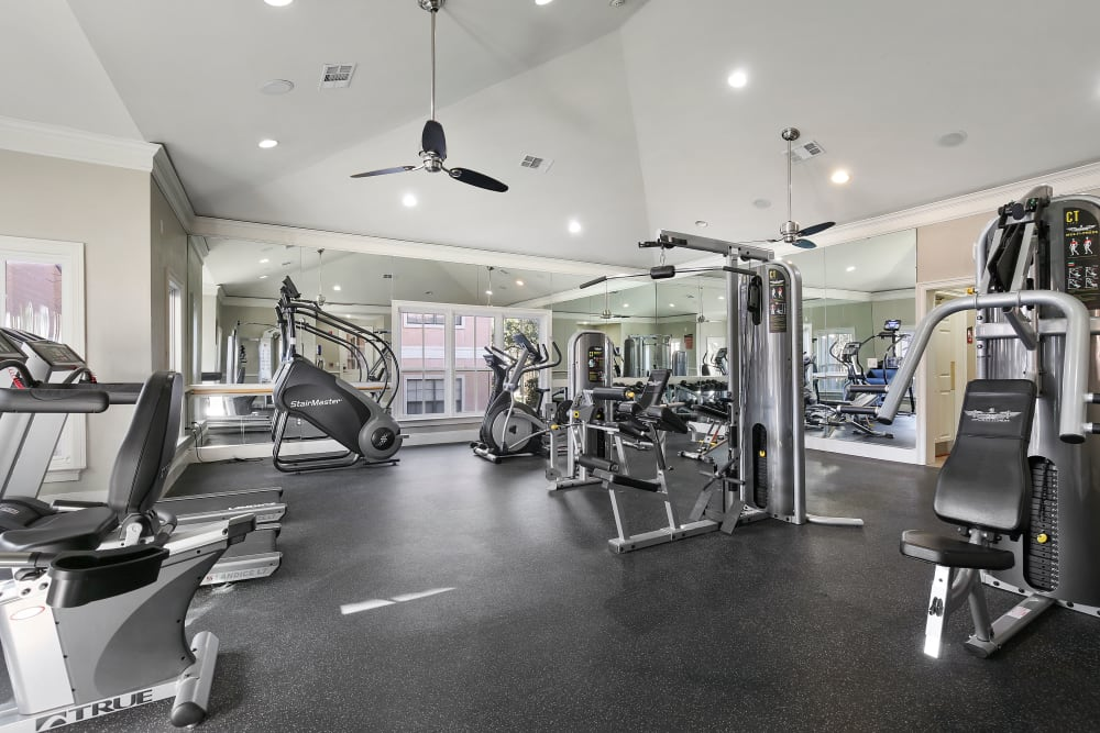 Fully equipped fitness center at The Lyndon in Irving, Texas
