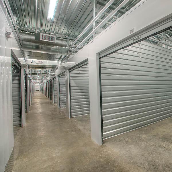 Open indoor storage units at StorQuest Self Storage in Los Angeles, California