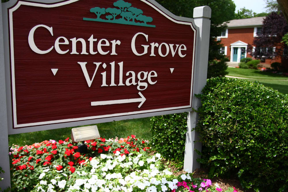 Center Grove Village sign in Randolph, New Jersey