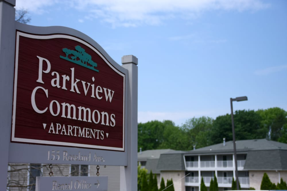 Our sign welcoming residents and their guests to  Parkview Commons Apartments
