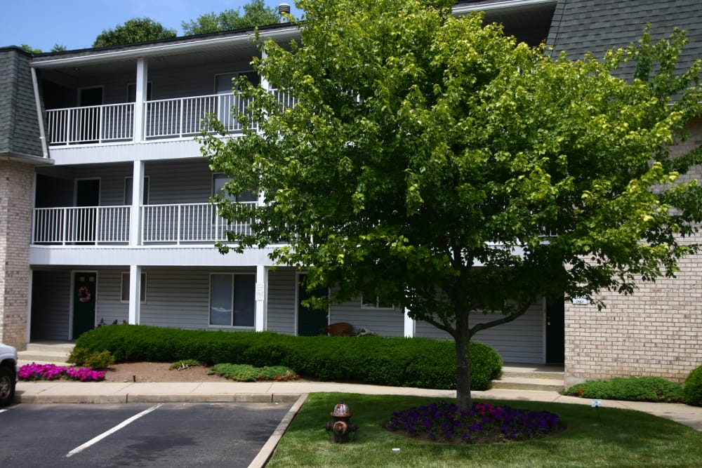 Beautiful entryway from parking lot at Parkview Commons Apartments in Caldwell, New Jersey