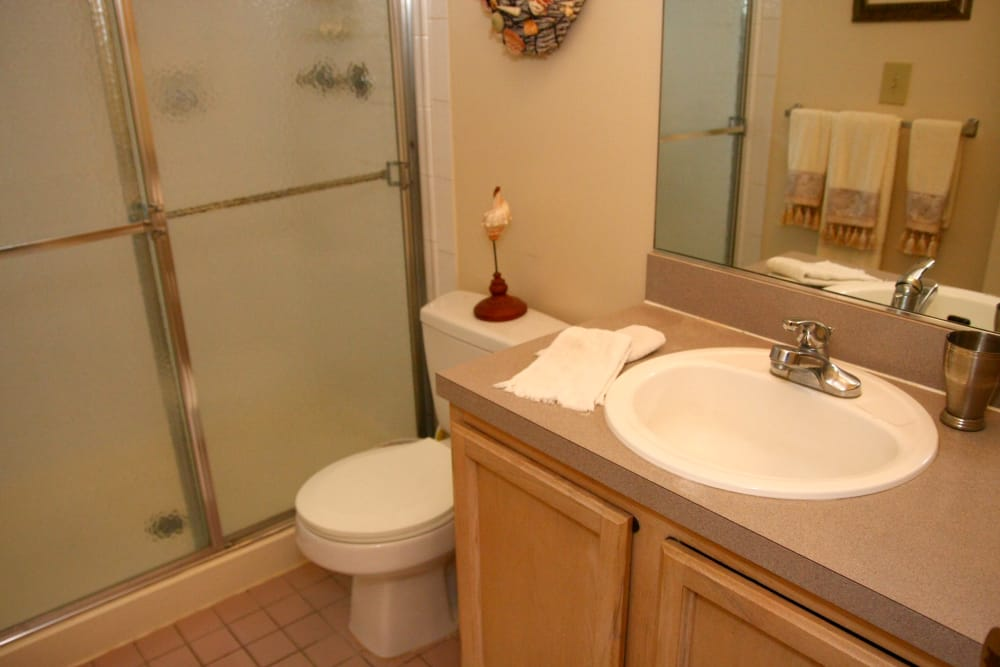 Modern bathroom at apartments in Caldwell, New Jersey