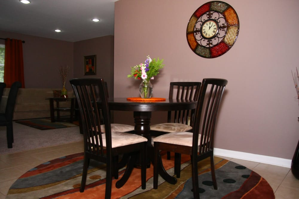Spacious dining area in model home at Pointe Breeze Apartments