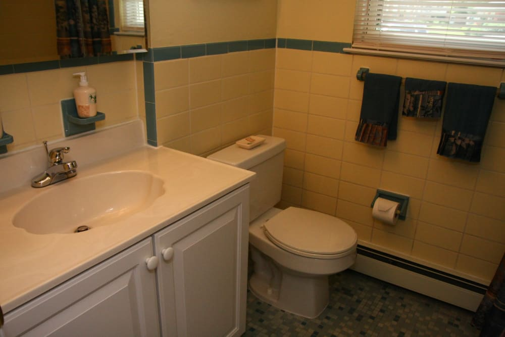 Renovated bathroom at Pointe Breeze Apartments in Bordentown, New Jersey