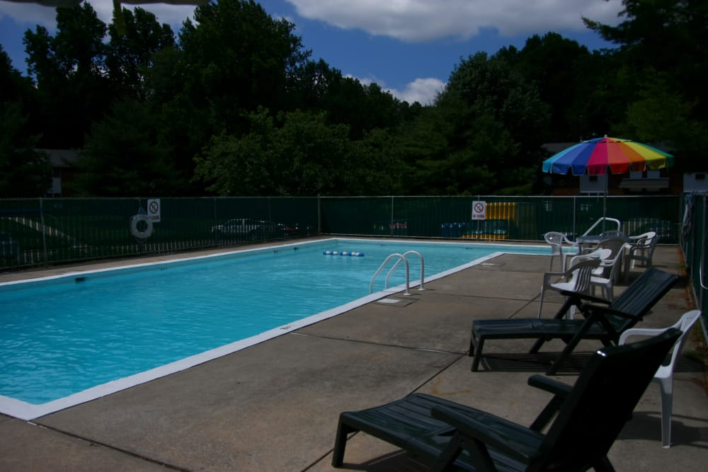 Enjoy our pool area at Pointe Breeze Apartments