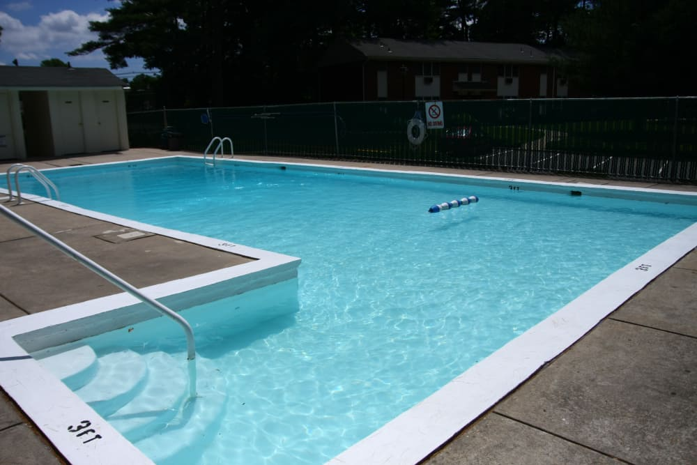Enjoy our view of the pool area at Pointe Breeze Apartments