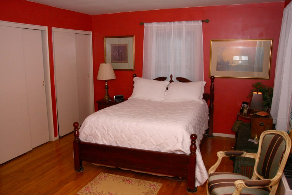 A model bedroom at Westfield Hamilton House
