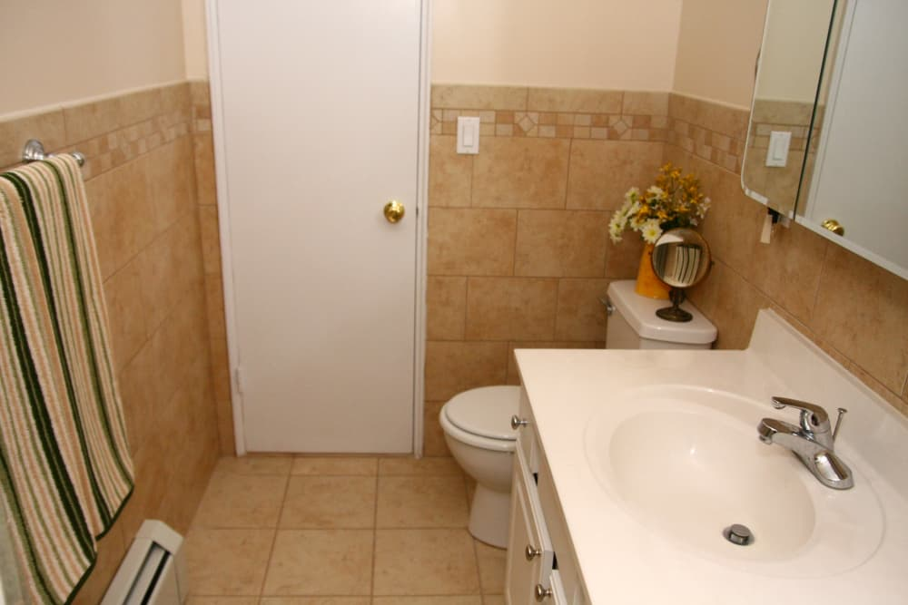 Renovated bathroom at Westfield Hamilton House in Westfield, New Jersey