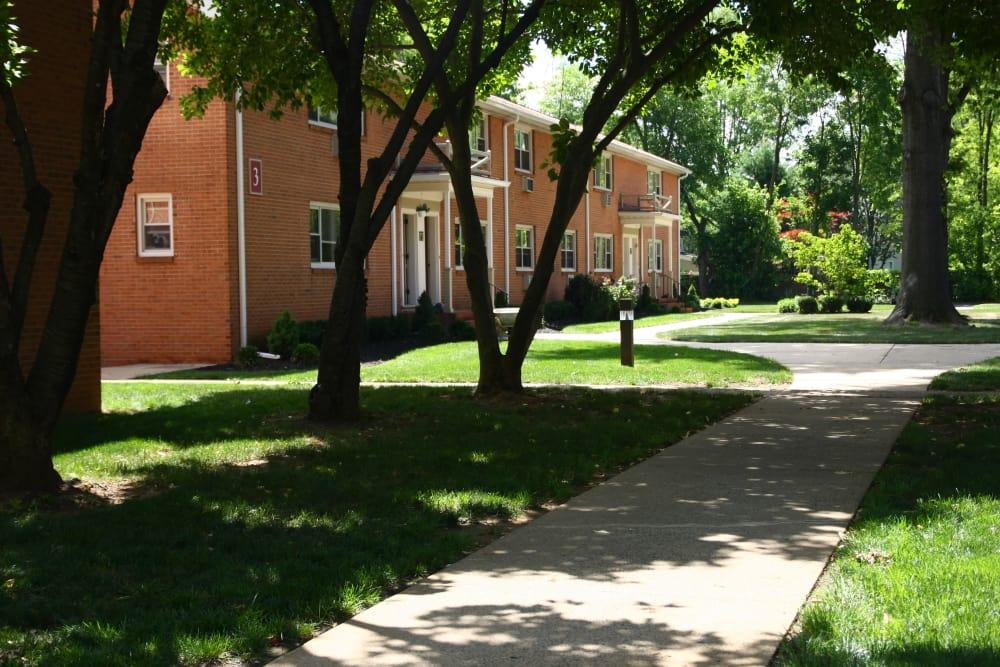 Walking path to apartments at Riverwood Commons