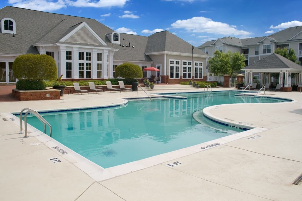 Spacious swimming pool area at Legends Cary Towne in Raleigh, North Carolina