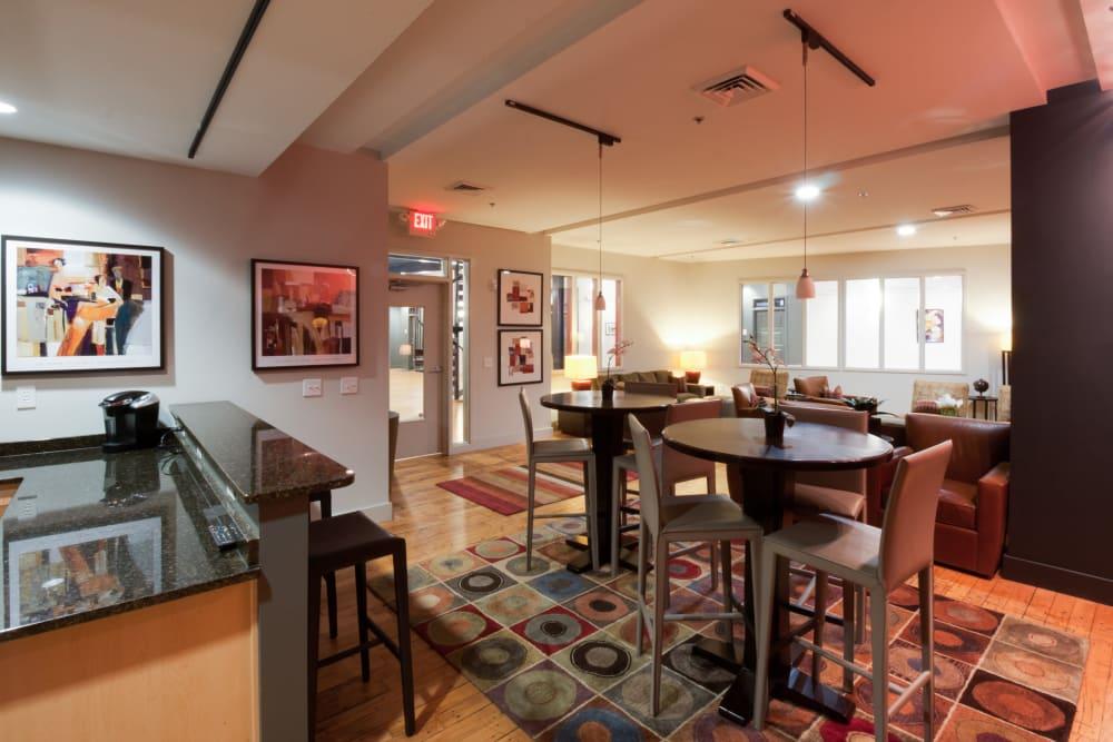 Community lounge at The Gallery Lofts in Winston Salem, North Carolina