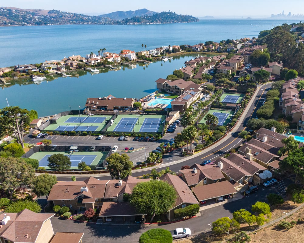 Aerial view of our community at in the bay at Harbor Point Apartments in Mill Valley, California
