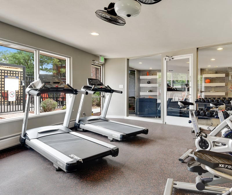 Well-equipped fitness center with a view of the pool at Ten49 in Broomfield, Colorado