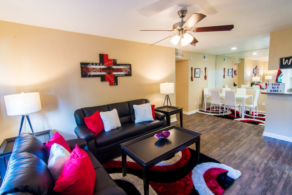 Well-appointed living room at Meadowbrook Apartments