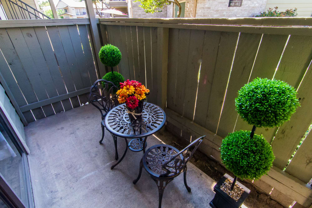 Private patio at Meadowbrook Apartments