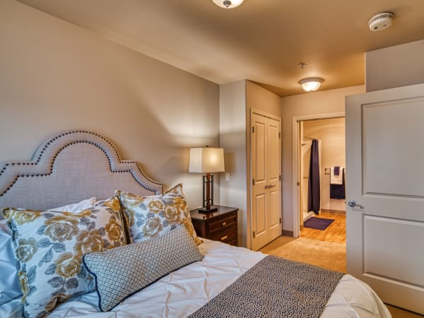A resident bedroom at Patriots Landing in DuPont, Washington.