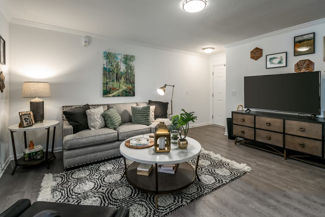 Beautiful living room at Landmark Apartments Hattiesburg in Hattiesburg, Mississippi