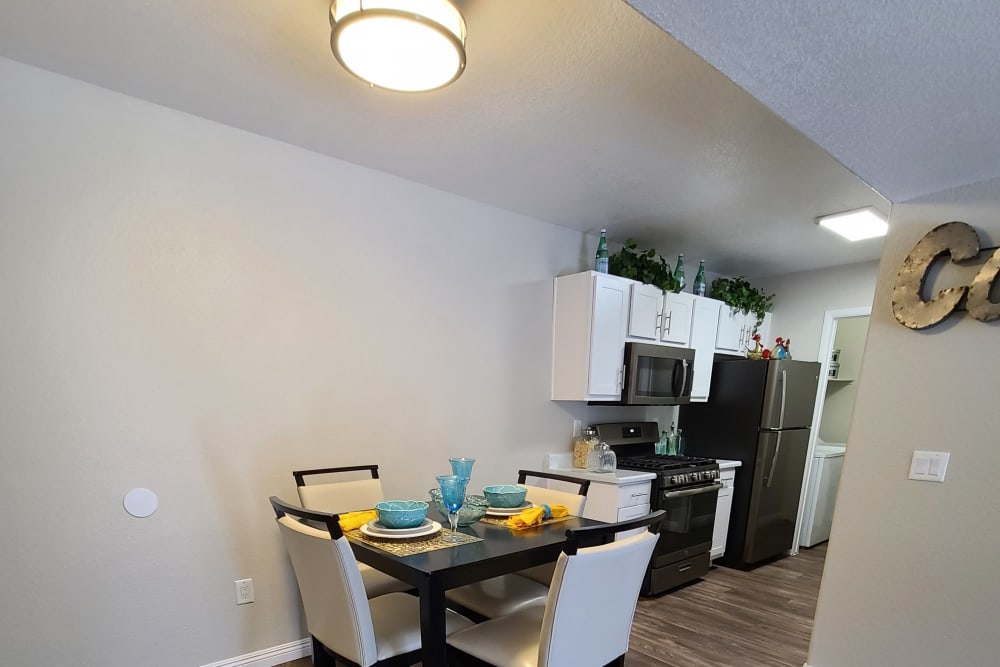 Spacious and well-furnished kitchen in a model apartment at Alterra Apartments in Las Vegas, Nevada