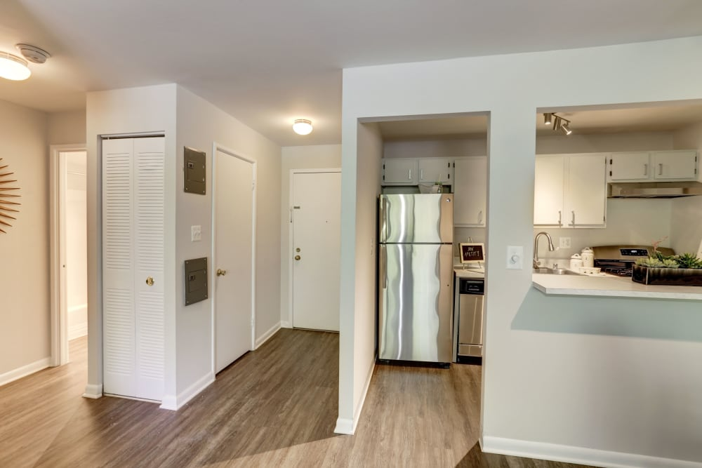 A living room closet next to the kitchen at The Landings I & II Apartments in Alexandria, Virginia