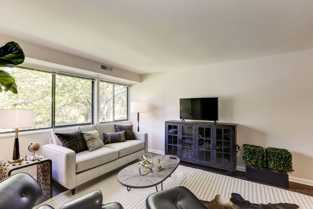 A beautiful spacious living room with lots of natural lighting at The Landings I & II Apartments in Alexandria, Virginia