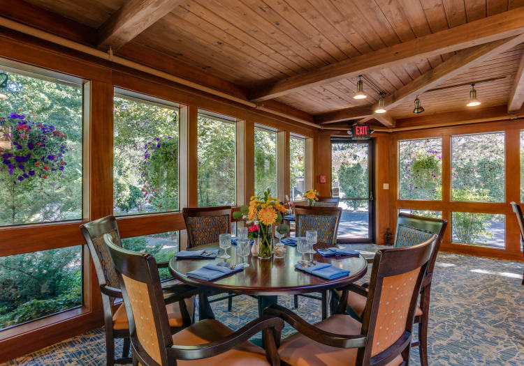 Comfortable dining table at The Firs in Olympia, Washington
