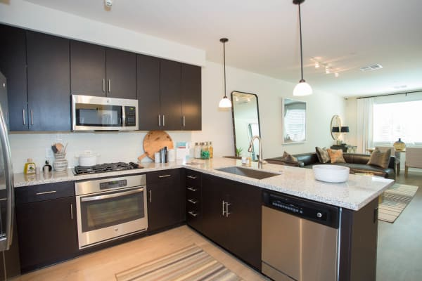 Modern kitchen with stainless-steel appliances in model home at Avant at Fashion Center in Chandler, Arizona