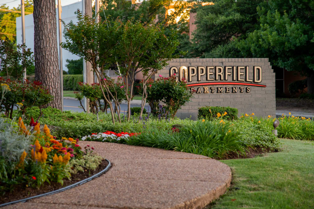 Apartment signage at Copperfield Apartments in Oklahoma City, Oklahoma