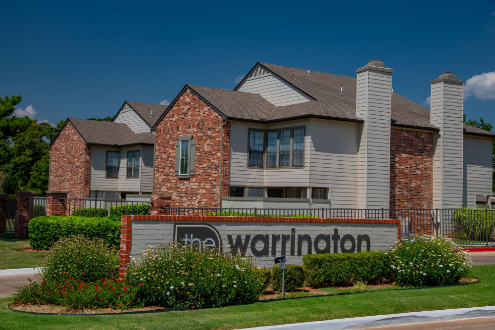 Property sign at Warrington Apartments  in Oklahoma City, Oklahoma