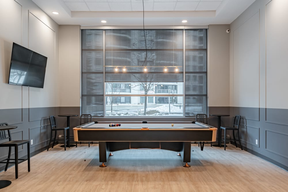 Pool table in the games room at Discovery Pointe in Calgary