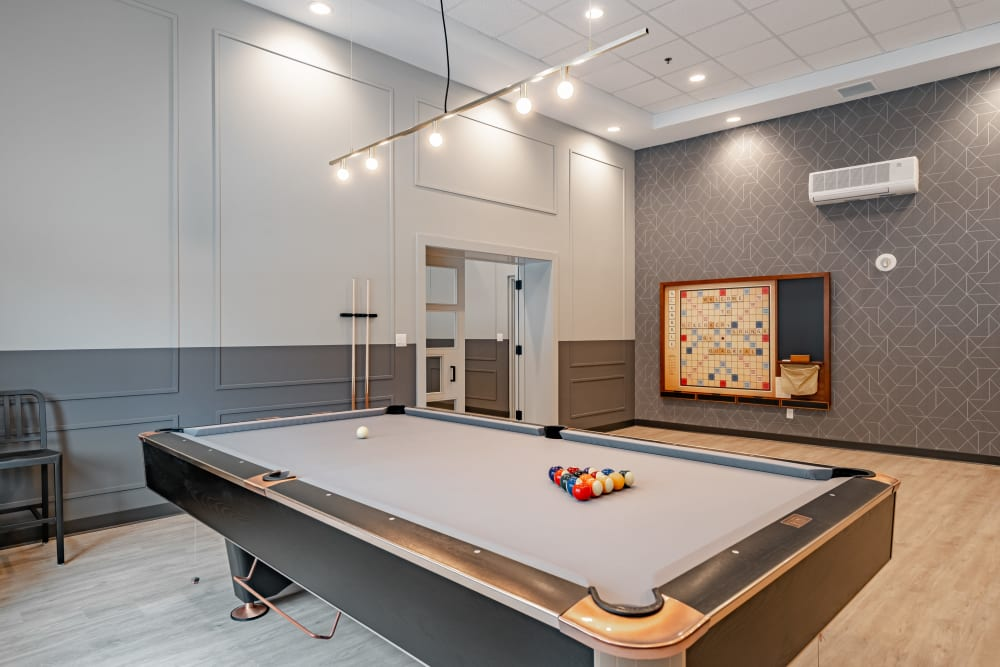 Scrabble board and pool table at Discovery Pointe in Calgary
