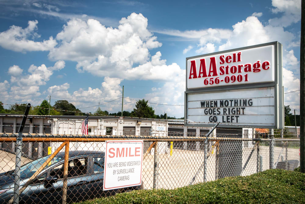 Signage in front of AAA Self Storage at Browns Summit Rd in Browns Summit, North Carolina