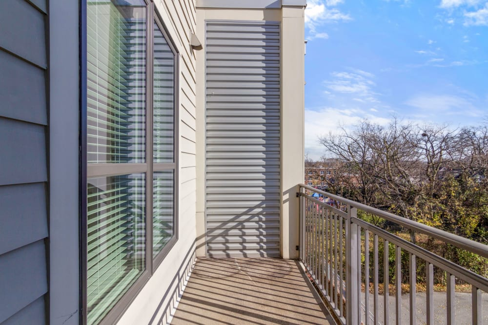 Private balcony at 12 South Apartments in Nashville, Tennessee