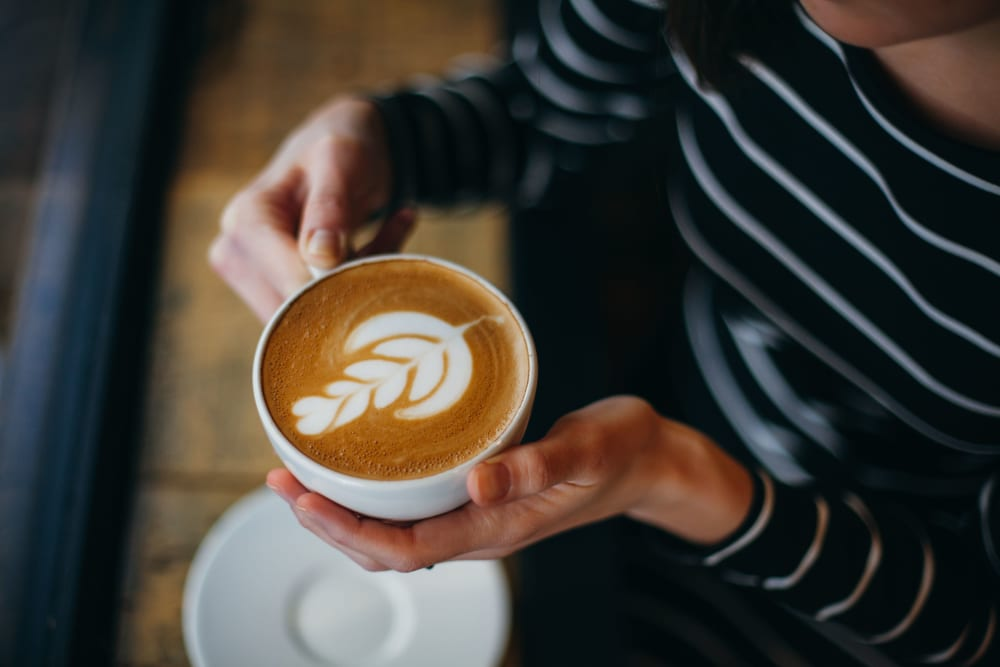 Beautiful latte from the coffee bar at The Royal Athena in Bala Cynwyd, Pennsylvania