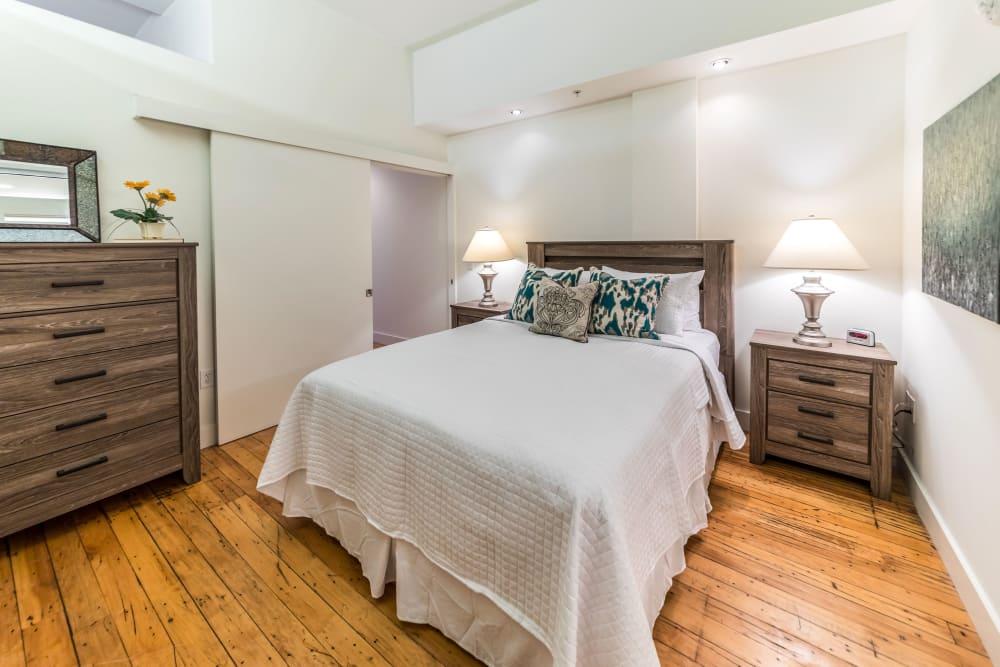 Model bedroom at The Gallery Lofts in Winston Salem, North Carolina