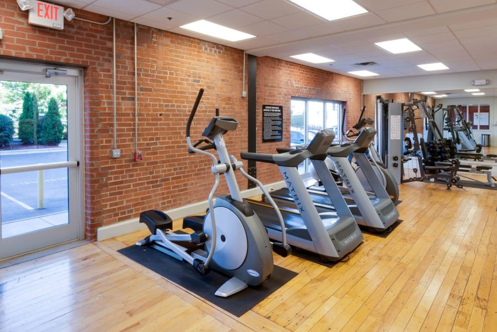 Fitness center at The Gallery Lofts in Winston Salem, North Carolina
