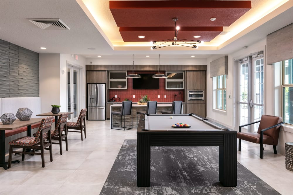 Clubhouse with billiards table at Integra 289 Exchange in DeBary, Florida
