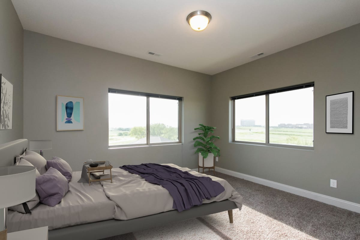 Beautiful bedroom layout at The Cascades at Jordan Creek in West Des Moines, Iowa