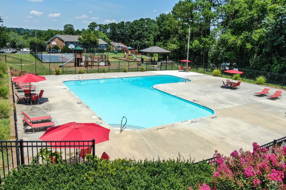 Outdoor pool at Rippling Stream Townhomes in Durham, North Carolina