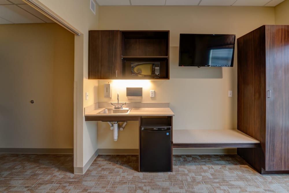 Resident suite with natural light at Mission Healthcare at Renton in Renton, Washington.