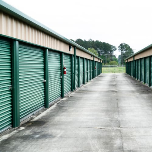 Outdoor storage units at Red Dot Storage in Walker, Louisiana